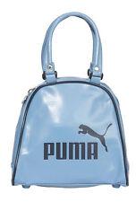 PUMA Damen Handtasche Retro Bowlingbag Bowling Tasche Lederoptik blau P64901