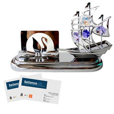 Crystocraft Ship Boat Business Card Holder Crystal Swarovski Elements Gift Box