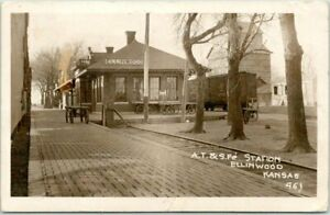 1917 ELLINWOOD, Kansas RPPC Real Photo Postcard AT&SF SANTA FE RAILROAD DEPOT