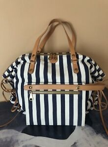 IL BISONTE Made In Italy Striped Canvas & Leather Tote Shoulder Convertible Bag