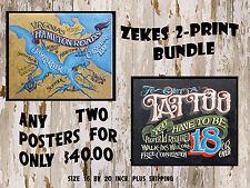 Zeke's  2  Print-Poster  Bundle  decor print  vintage looking  sale savings USA