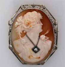 Cameo Pin Brooch / Pendant Antique Shell Gold And Diamond