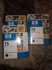 Lot Of 4 HP Inkjet Print Cartridge 15 Black Ink Expired 2006 Sealed