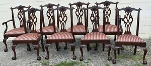 Henkel Harris Model #112 Set of 8 Claw Foot Chippendale Dining Room Chairs
