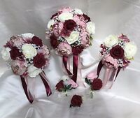 Wedding Flowers dusky pink/Burgundy peonies Crystal Bouquet, Bride/Bridesmaids
