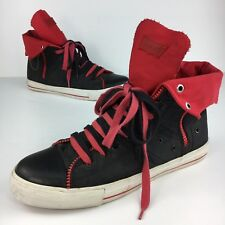 Levi's Mens Size 11 Shoes Zip Ex Hi Sneakers Canvas Black Red Lace Up Skater