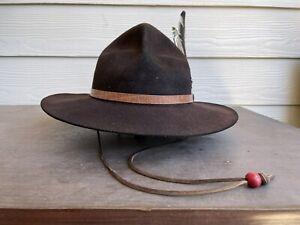Vintage Antique Old West Cowboy Hat 7 1/2 Scout Derby Bowler Fedora Mountain Man