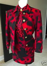 1992 vintage GIANNI VERSACE COUTURE red & black wool cashmere skirt suit size 8