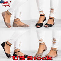 Womens Low Heel Open Toe Sandals Party Casual Ankle Strap Buckle Flats Shoes US