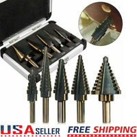 5PCS Large Metal Step Drill Bit Sets HSS Cobalt Multiple Hole 50 Sizes with Case