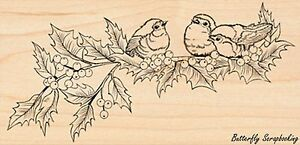 Holly Concert Of Birds, Wood Mounted Rubber Stamp PENNY BLACK - NEW, 4337K