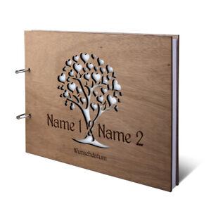 Hochzeit Gästebuch Holz Gravur individuell Holzcover A4 quer - Herzbaum