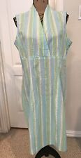 J PETERMAN CO 100% Cotton Seersucker Striped Sleeveless Dress EUC - Size 16 (L)
