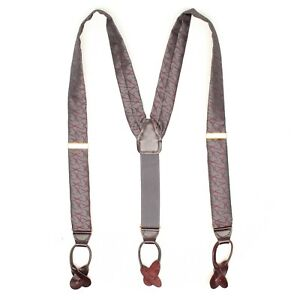 CAS Germany Men Silk Braces Suspenders Gray Burgundy Abstract Weave Leather Tab