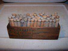 PRIMITIVE Vintage Wooden KRAFT AMERICAN Cheese Box 60 Wood Clothes Pins Laundry