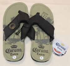 Corona Extra Brown/Tan Canvas Flip Flops Sandals Bottle Opener Size XL 12/13