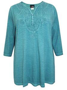 Baumwolle 3/4-Arm Tunika Bluse Shirt Longshirt petrol MiaModa  52 & 60  #10