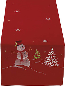 """DII Christmas Holiday Embroidered Table Runner 14 x 70"""", Snowman"""