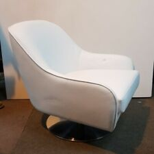Luxury White Swivel Accent Faux Leather Stainless Steel Chrome Armchair new
