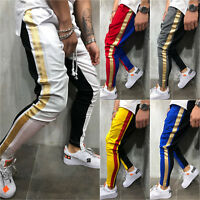 Men Hip Hop Slim Fit Trousers Tracksuit Bottoms Skinny Joggers Sweat Track Pants