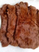 2x Caramel Rabbit Skin Real Fur Pelt for Animal Training Craftsfly Tying LARP