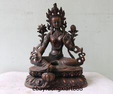 9 Tibet Buddhism Red pure Bronze Green Tara Guanyin Kwan-yin Bodhisattva Statue