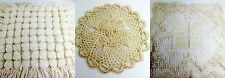 Antique Lace 3 pc Doily Vintage Lot Mondano Net, Pompom, Woven Straw, Exc Asst