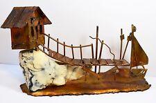 Folk Art Brass Copper White Resin Slab Lake Shore House Vtg Statue Figurine