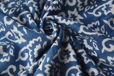 2.5 Yard Floral Blue Hand Made Block Print Fabric Indian Cotton Crafting Fabric