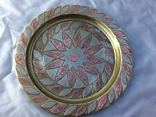 Vintage Copper Plate / Tray / Charger - Embossed Pattern - Brass - Copper