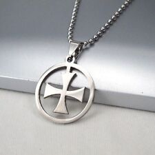 """Silver Stainless Knights Templars Cross Pendant 24"""" 61cm Mens Chain Necklace NEW"""