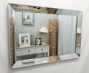 Milan Modern Art Deco Plain Glass Design Bevelled Wall Mirror 100x70cm Silver