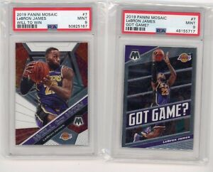 (2) Card Lot 2019 Panini Mosaic WILL TO WIN - Got Game LeBron James PSA 9 Graded
