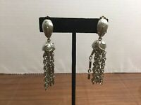 Vintage Silver-tone Chain Dangle Drop Clip On Earrings #A49