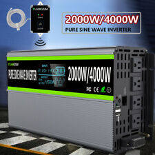 Power Inverter 2000W 4000W DC 12V To AC 120V Pure Sine Wave Solar Converter LCD