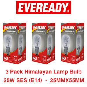 3 Pack Himalayan Salt Lamp Bulb Screw Pygmy Light Bulbs Set Clear Glass 25W E14