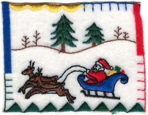 Noël Eve Scène Père Noël Renne Traîneau Patch Brodé