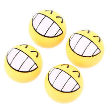 4pcs Car Truck Ball Wheel Tyre Valve Stems Air Dust Caps Cover Yellow Smile Face
