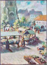 """Ancien Tableau """"Scène de Marché"""" Peinture Huile Antique Oil Painting"""