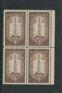 USA - 1959, 4c Brown, First Oil Well, Titusville Block of 4 - M/m - SG 1133