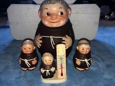 Goebel Rare Lot: Friar Tuck Monk Cookie Jar, 2 sugar monks & Thermometer Set