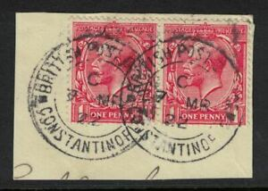 british levant stamps - constantinople 1922 cds - late use george v - on piece