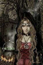VICTORIA FRANCES ~ CAULDRON 24x36 ART POSTER Witch Spell Brew Castle Coven