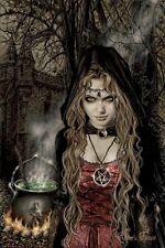 VICTORIA FRANCES ~ CAULDRON 24x36 ART POSTER Witch Spell Brew Castle Coven
