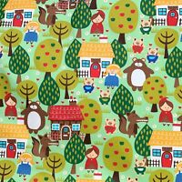Children's Fairytale Characters Printed on 100% Cotton Twill Fabric Per Meter