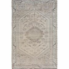 """6'6""""x10'2"""" Earth Tones Vintage and Worn Down Hand Knotted Village Rug R57247"""