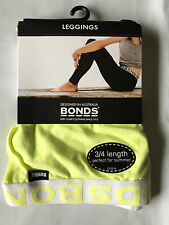 BNWT Bonds Brand Girls Age 10-12 Years 3/4 Length Sunny Yellow Footless Leggings