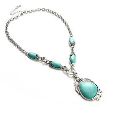 ANTIQUE SILVER TIBET TURQUOISE NECKLACE