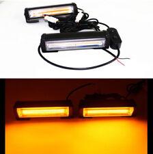 2x COB LED Hazard Warning Car SUV Truck Flash Strobe Beacon Lights Amber Color