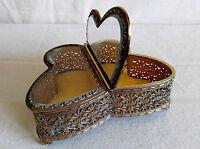 Vintage BUTTERFLY Vanity Filigree Ormolu Bevel Glass Jewelry Casket Box